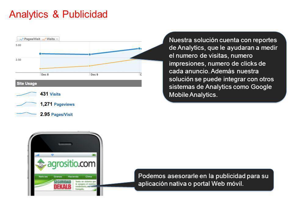 Analytics & Publicidad Nuestra solución cuenta con reportes de Analytics, que le ayudaran a medir el numero de visitas, numero impresiones, numero de clicks de cada anuncio.