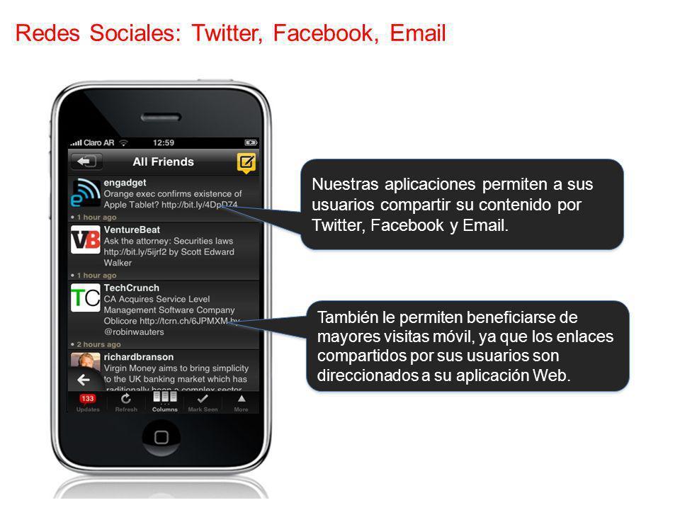 Redes Sociales: Twitter, Facebook, Email También le permiten beneficiarse de mayores visitas móvil, ya que los enlaces compartidos por sus usuarios son direccionados a su aplicación Web.