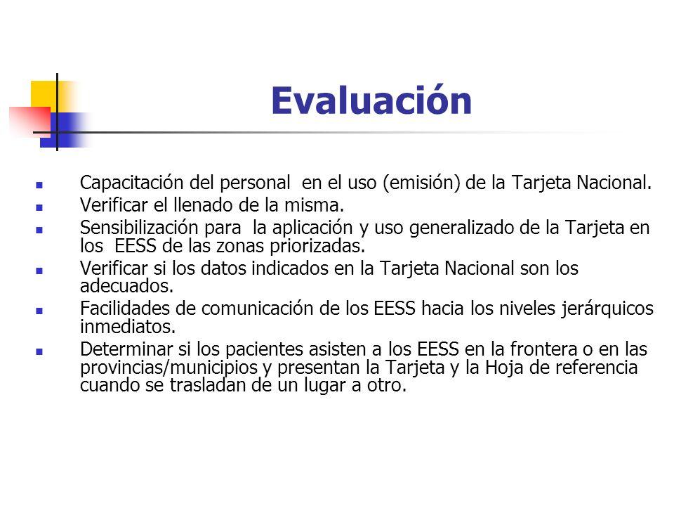 Evaluación Capacitación del personal en el uso (emisión) de la Tarjeta Nacional.