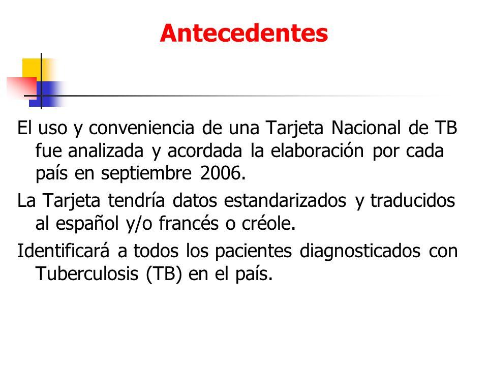 Antecedentes El uso y conveniencia de una Tarjeta Nacional de TB fue analizada y acordada la elaboración por cada país en septiembre 2006.