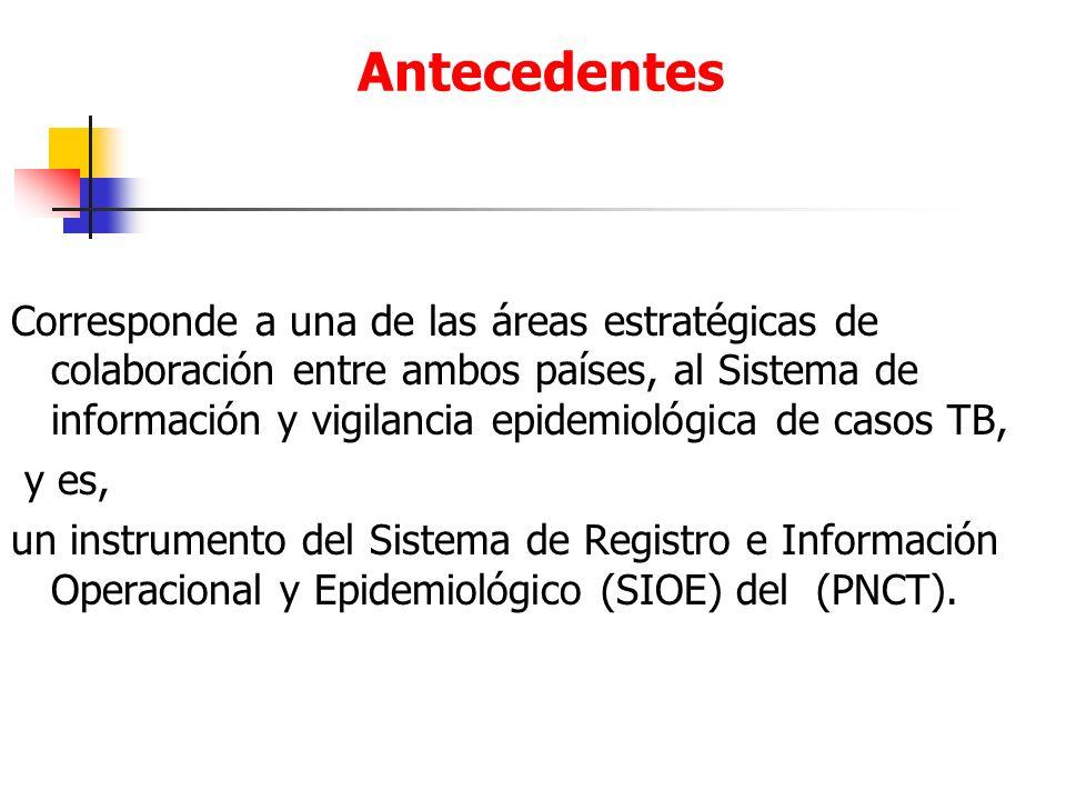 Antecedentes Corresponde a una de las áreas estratégicas de colaboración entre ambos países, al Sistema de información y vigilancia epidemiológica de casos TB, y es, un instrumento del Sistema de Registro e Información Operacional y Epidemiológico (SIOE) del (PNCT).