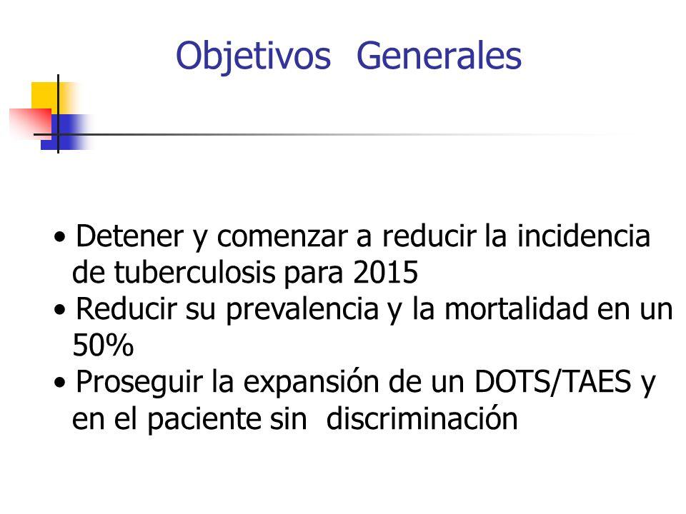 Objetivos Generales Detener y comenzar a reducir la incidencia de tuberculosis para 2015 Reducir su prevalencia y la mortalidad en un 50% Proseguir la