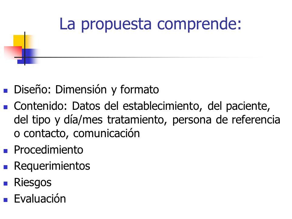 La propuesta comprende: Diseño: Dimensión y formato Contenido: Datos del establecimiento, del paciente, del tipo y día/mes tratamiento, persona de referencia o contacto, comunicación Procedimiento Requerimientos Riesgos Evaluación