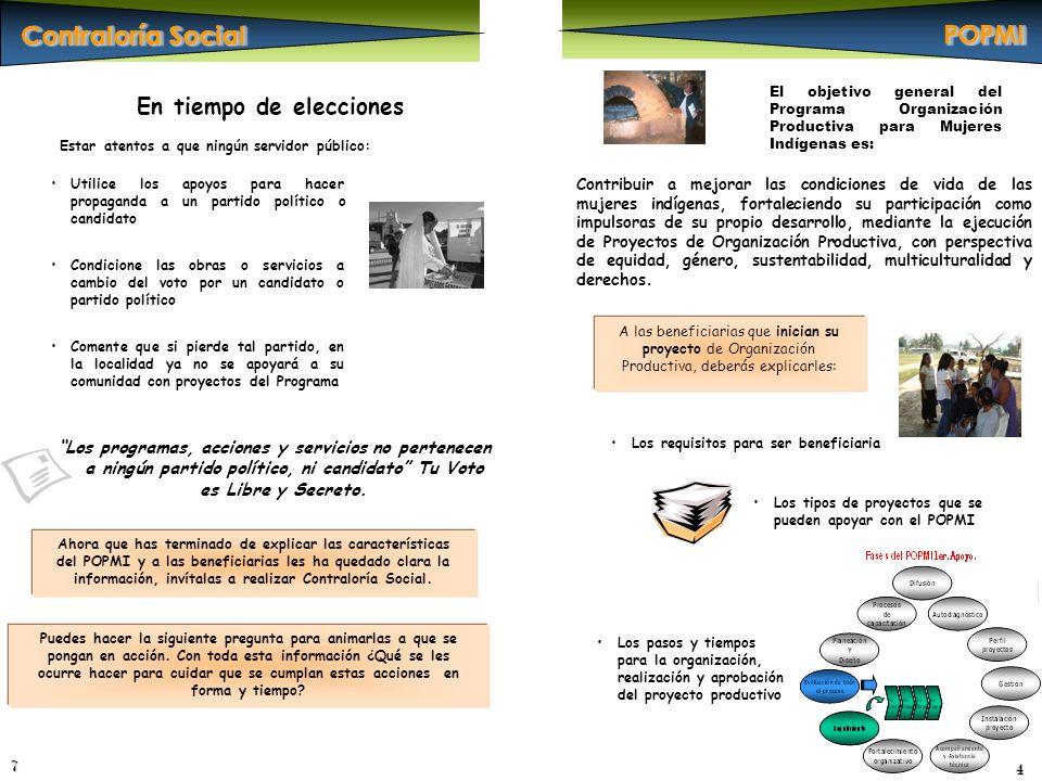 A las beneficiarias que inician su proyecto de Organización Productiva, deberás explicarles: 4 Contribuir a mejorar las condiciones de vida de las muj