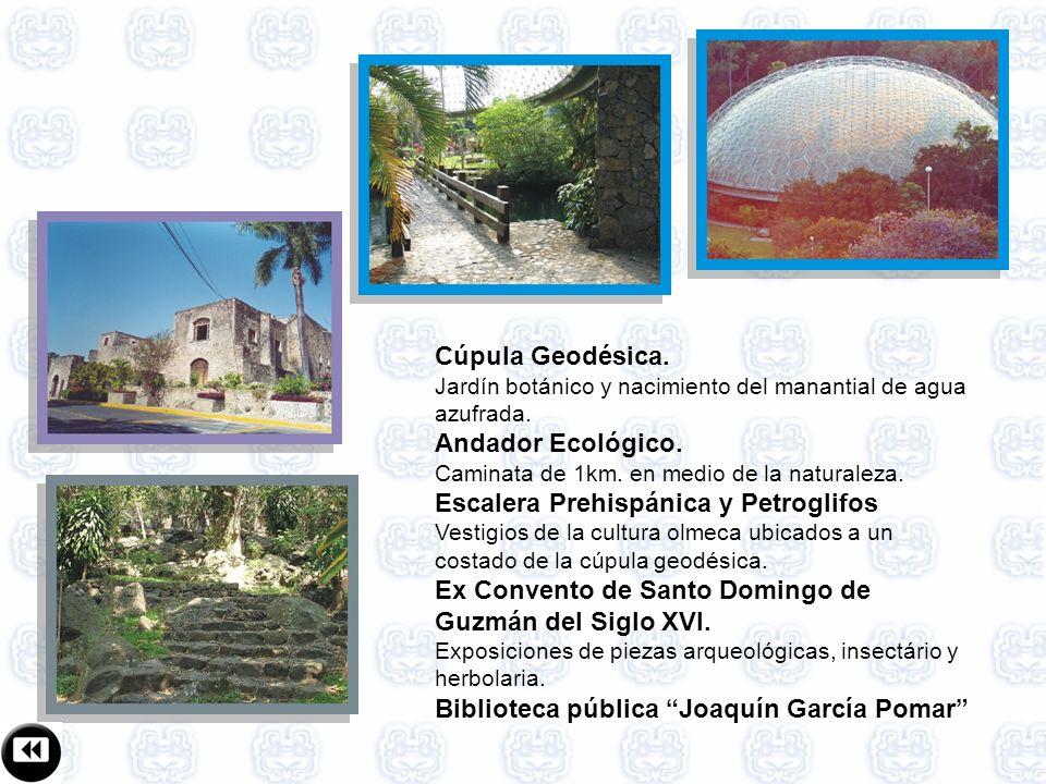 Cúpula Geodésica.Jardín botánico y nacimiento del manantial de agua azufrada.