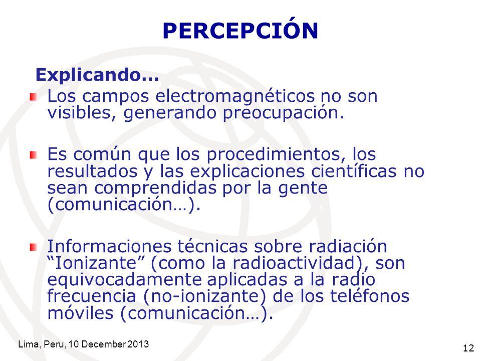 12 PERCEPCIÓN Explicando… Los campos electromagnéticos no son visibles, generando preocupación.
