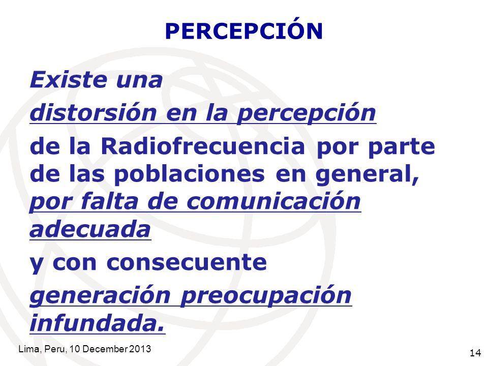 14 PERCEPCIÓN Existe una distorsión en la percepción de la Radiofrecuencia por parte de las poblaciones en general, por falta de comunicación adecuada y con consecuente generación preocupación infundada.