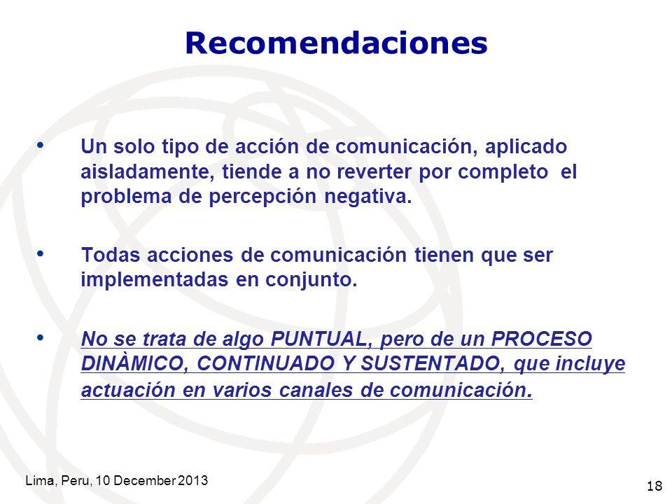 18 Recomendaciones Un solo tipo de acción de comunicación, aplicado aisladamente, tiende a no reverter por completo el problema de percepción negativa.