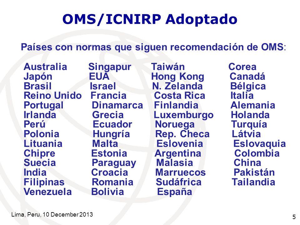 5 OMS/ICNIRP Adoptado Países con normas que siguen recomendación de OMS: Australia Singapur Taiwán Corea Japón EUA Hong Kong Canadá Brasil Israel N.