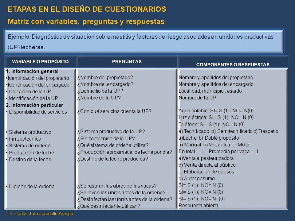 Dr. Carlos Julio Jaramillo Arango VARIABLE O PROPÓSITOPREGUNTAS COMPONENTES O RESPUESTAS 1. Información general Identificación del propietario Identif
