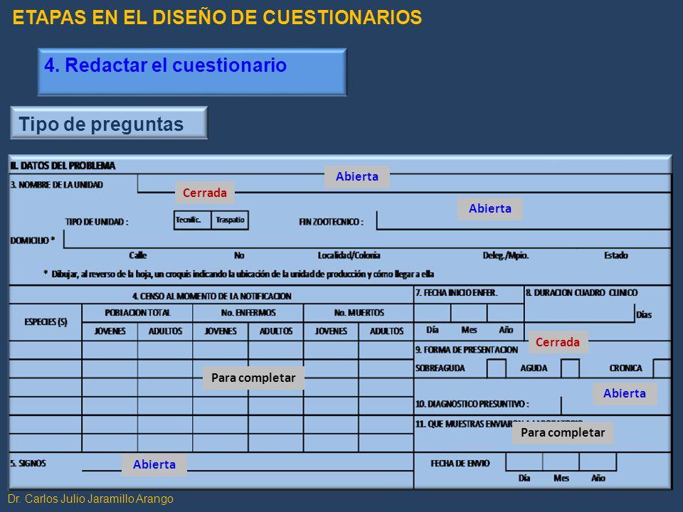Dr. Carlos Julio Jaramillo Arango Tipo de preguntas Abierta Cerrada Para completar Cerrada Abierta Para completar ETAPAS EN EL DISEÑO DE CUESTIONARIOS