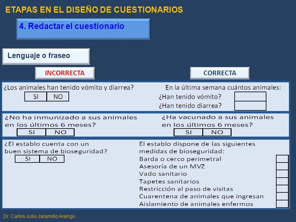 Dr. Carlos Julio Jaramillo Arango Lenguaje o fraseo INCORRECTACORRECTA ETAPAS EN EL DISEÑO DE CUESTIONARIOS 4. Redactar el cuestionario