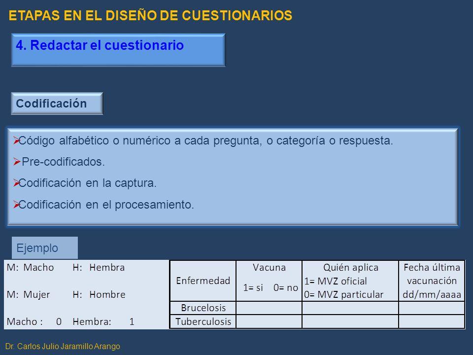 Dr. Carlos Julio Jaramillo Arango Codificación Código alfabético o numérico a cada pregunta, o categoría o respuesta. Pre-codificados. Codificación en