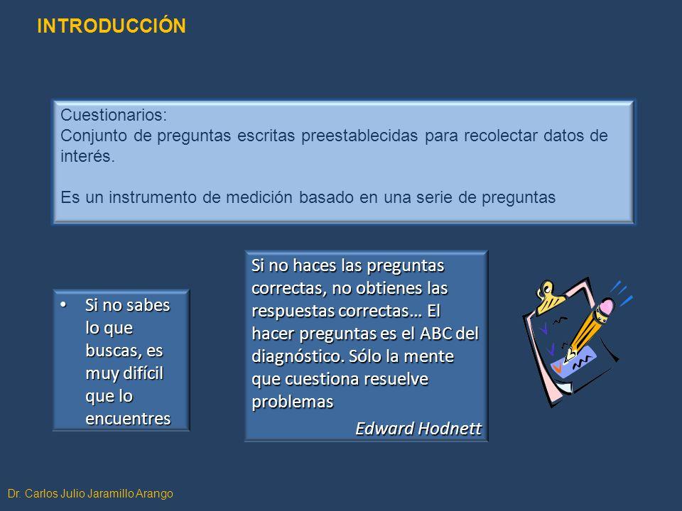 Dr. Carlos Julio Jaramillo Arango Cuestionarios: Conjunto de preguntas escritas preestablecidas para recolectar datos de interés. Es un instrumento de