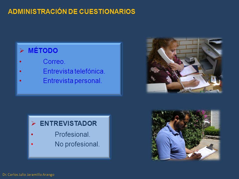 MÉTODO Correo. Entrevista telefónica. Entrevista personal. ADMINISTRACIÓN DE CUESTIONARIOS Dr. Carlos Julio Jaramillo Arango ENTREVISTADOR Profesional
