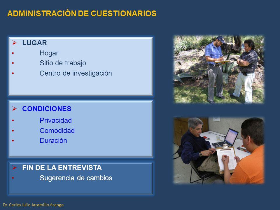 ADMINISTRACIÓN DE CUESTIONARIOS LUGAR Hogar Sitio de trabajo Centro de investigación FIN DE LA ENTREVISTA Sugerencia de cambios CONDICIONES Privacidad