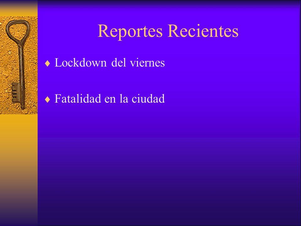 Reportes Recientes Lockdown del viernes Fatalidad en la ciudad