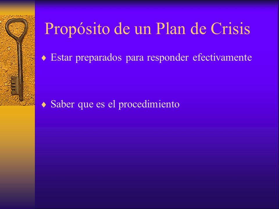 Propósito de un Plan de Crisis Estar preparados para responder efectivamente Saber que es el procedimiento