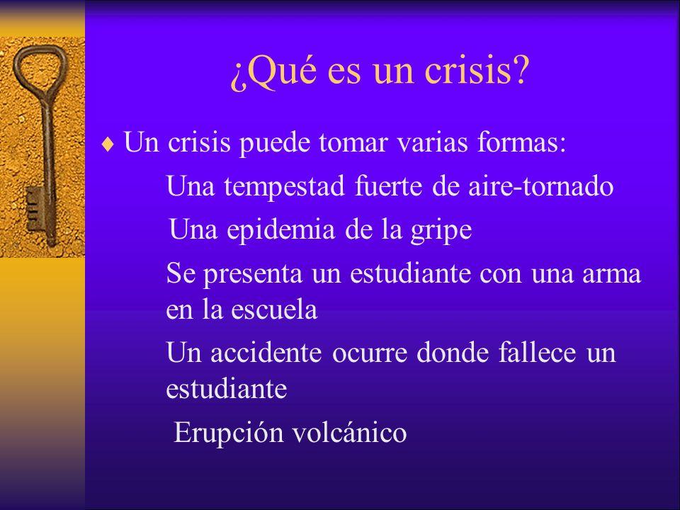¿Qué es un crisis? Un crisis puede tomar varias formas: Una tempestad fuerte de aire-tornado Una epidemia de la gripe Se presenta un estudiante con un