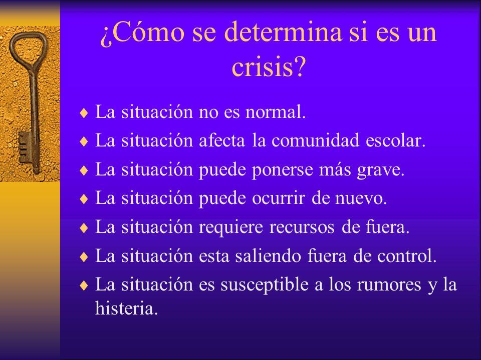 ¿Cómo se determina si es un crisis? La situación no es normal. La situación afecta la comunidad escolar. La situación puede ponerse más grave. La situ