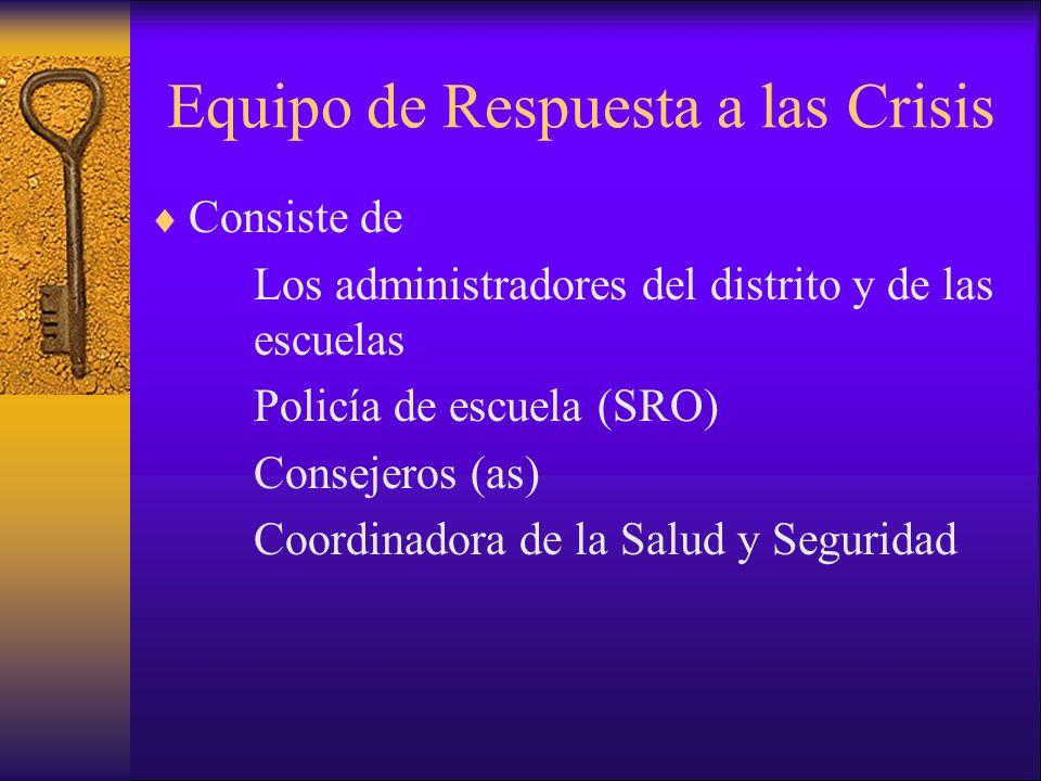 Equipo de Respuesta a las Crisis Consiste de Los administradores del distrito y de las escuelas Policía de escuela (SRO) Consejeros (as) Coordinadora