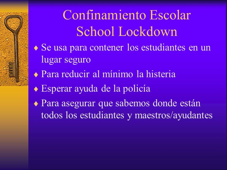 Confinamiento Escolar School Lockdown Se usa para contener los estudiantes en un lugar seguro Para reducir al mínimo la histeria Esperar ayuda de la p