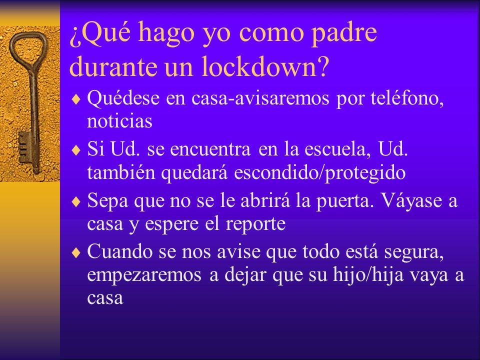 ¿Qué hago yo como padre durante un lockdown? Quédese en casa-avisaremos por teléfono, noticias Si Ud. se encuentra en la escuela, Ud. también quedará
