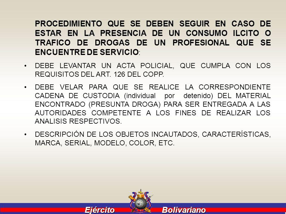 Ejército Bolivariano Ejército Bolivariano PROCEDIMIENTO QUE SE DEBEN SEGUIR EN CASO DE ESTAR EN LA PRESENCIA DE UN CONSUMO ILCITO O TRAFICO DE DROGAS
