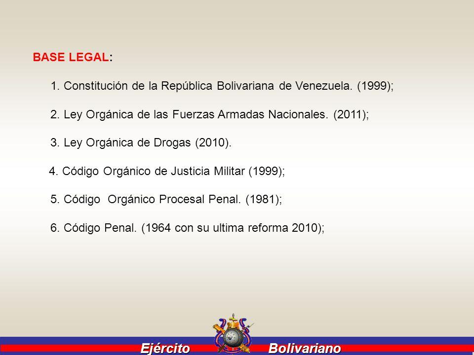 Ejército Bolivariano Ejército Bolivariano BASE LEGAL: 1. Constitución de la República Bolivariana de Venezuela. (1999); 2. Ley Orgánica de las Fuerzas