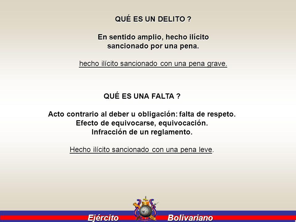 Ejército Bolivariano Ejército Bolivariano QUÉ ES UN DELITO ? En sentido amplio, hecho ilícito sancionado por una pena. hecho ilícito sancionado con un