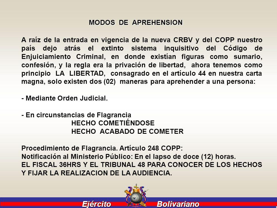 Ejército Bolivariano Ejército Bolivariano MODOS DE APREHENSION A raíz de la entrada en vigencia de la nueva CRBV y del COPP nuestro país dejo atrás el