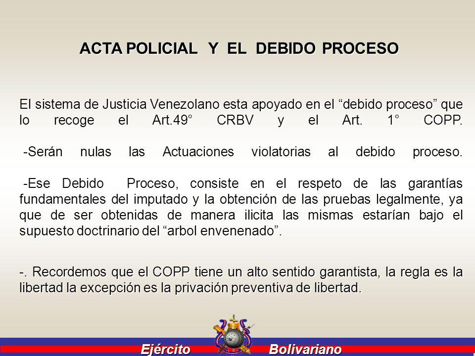 Ejército Bolivariano Ejército Bolivariano PROCEDIMIENTO QUE SE DEBEN SEGUIR EN CASO DE ESTAR EN LA PRESENCIA DE UN CONSUMO ILCITO O TRAFICO DE DROGAS DE UN PROFESIONAL QUE SE ENCUENTRE DE SERVICIO : DEBE LEVANTAR UN ACTA POLICIAL, QUE CUMPLA CON LOS REQUISITOS DEL ART.