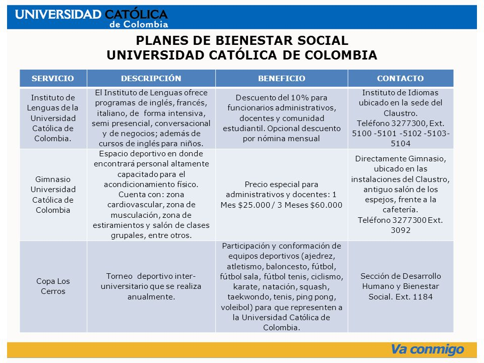 SERVICIODESCRIPCIÓNBENEFICIOCONTACTO Instituto de Lenguas de la Universidad Católica de Colombia.