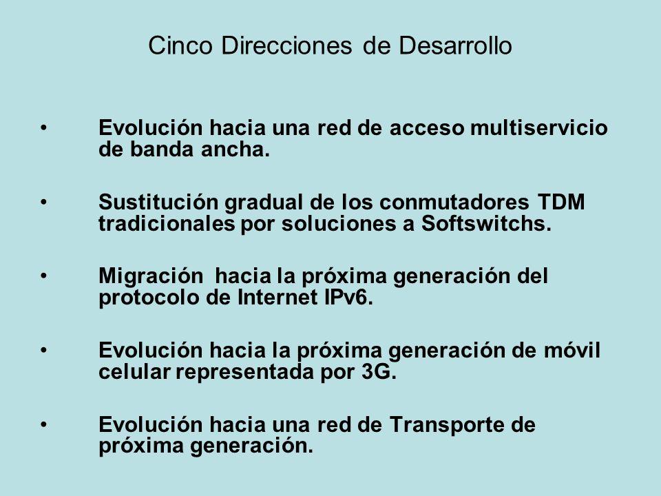 Cinco Direcciones de Desarrollo Evolución hacia una red de acceso multiservicio de banda ancha. Sustitución gradual de los conmutadores TDM tradiciona