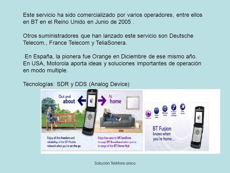 Solución Teléfono único. Este servicio ha sido comercializado por varios operadores, entre ellos en BT en el Reino Unido en Junio de 2005. Otros sumin