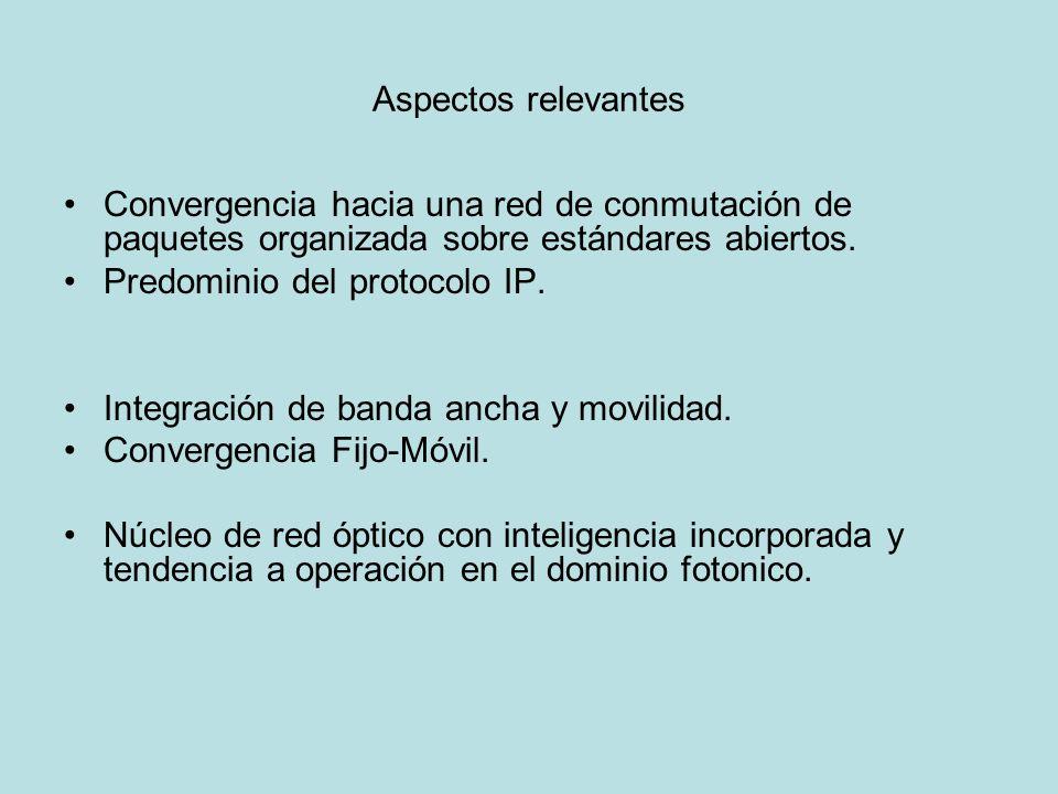 Aspectos relevantes Convergencia hacia una red de conmutación de paquetes organizada sobre estándares abiertos. Predominio del protocolo IP. Integraci