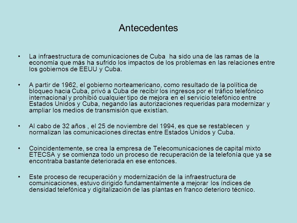 Antecedentes La infraestructura de comunicaciones de Cuba ha sido una de las ramas de la economía que más ha sufrido los impactos de los problemas en