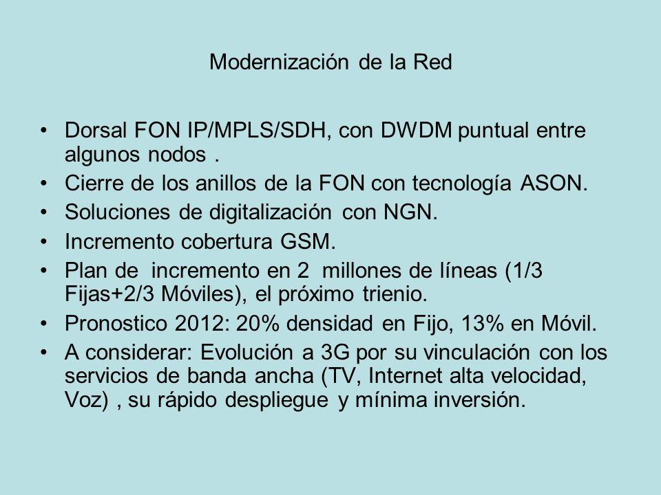 Modernización de la Red Dorsal FON IP/MPLS/SDH, con DWDM puntual entre algunos nodos. Cierre de los anillos de la FON con tecnología ASON. Soluciones