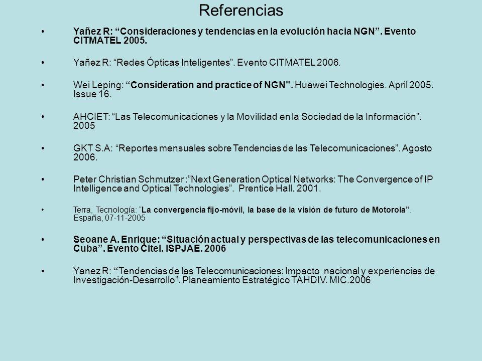 Referencias Yañez R: Consideraciones y tendencias en la evolución hacia NGN. Evento CITMATEL 2005. Yañez R: Redes Ópticas Inteligentes. Evento CITMATE