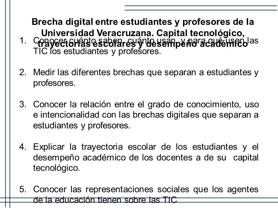 Brecha digital entre estudiantes y profesores de la Universidad Veracruzana. Capital tecnológico, trayectorias escolares y desempeño académico 1. Cono