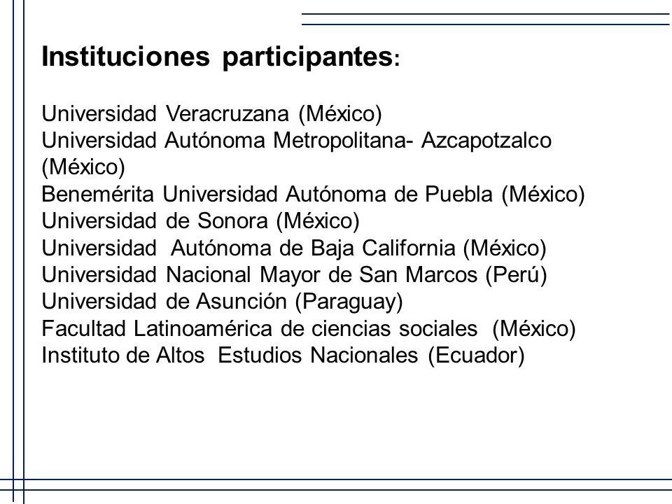 Instituciones participantes : Universidad Veracruzana (México) Universidad Autónoma Metropolitana- Azcapotzalco (México) Benemérita Universidad Autóno