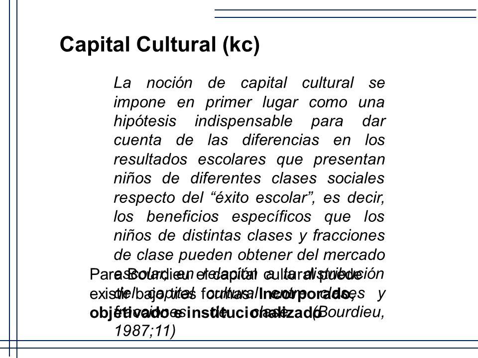 Capital Cultural (kc) La noción de capital cultural se impone en primer lugar como una hipótesis indispensable para dar cuenta de las diferencias en l