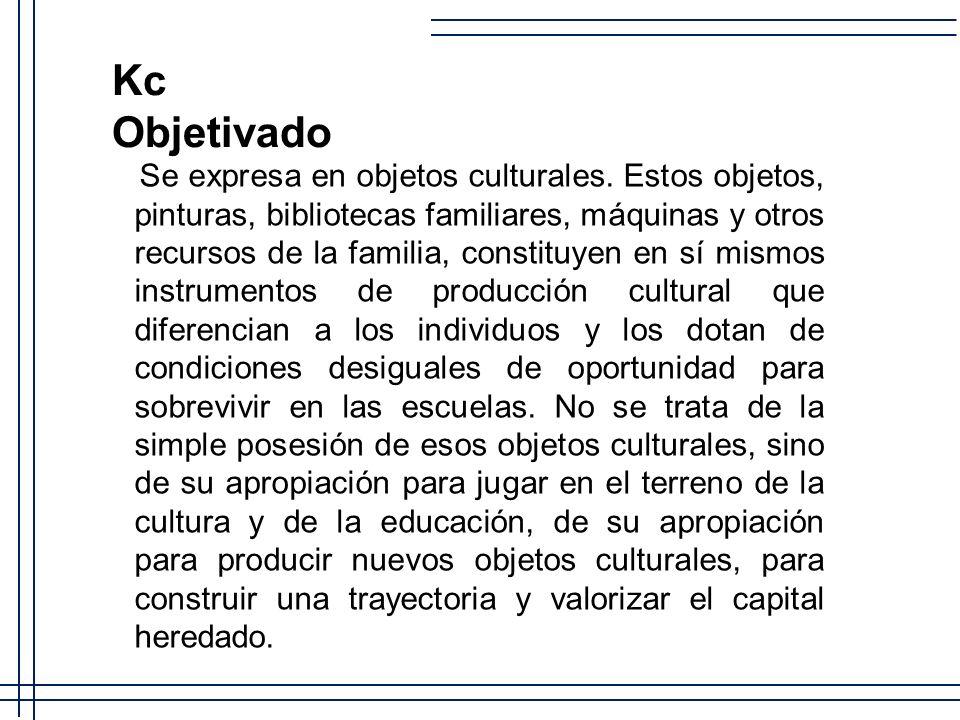 Kc Objetivado Se expresa en objetos culturales. Estos objetos, pinturas, bibliotecas familiares, máquinas y otros recursos de la familia, constituyen