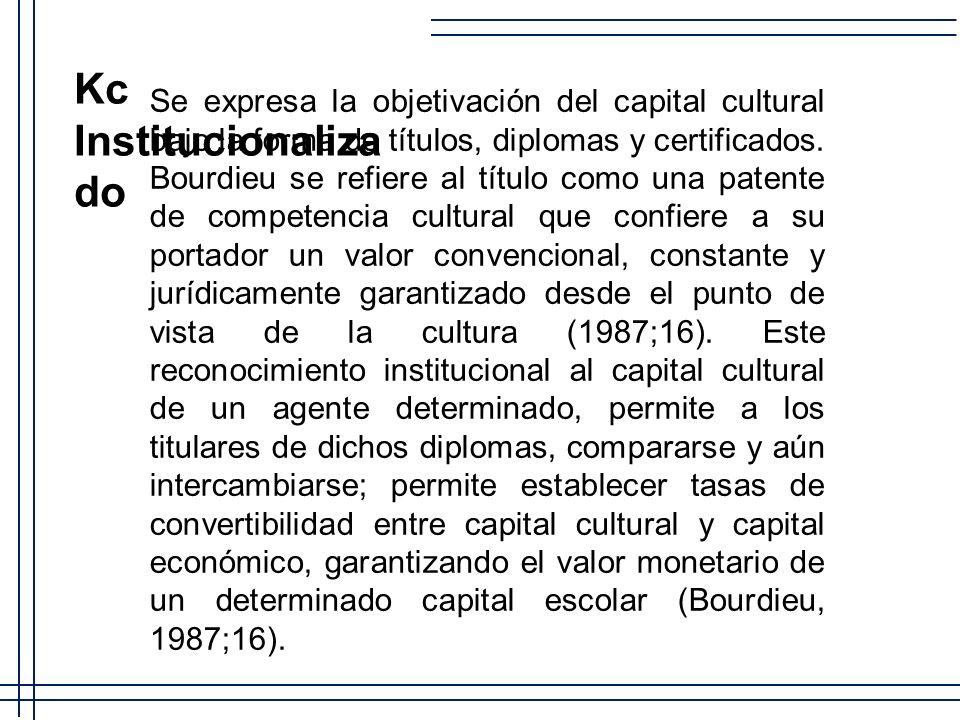 Se expresa la objetivación del capital cultural bajo la forma de títulos, diplomas y certificados. Bourdieu se refiere al título como una patente de c