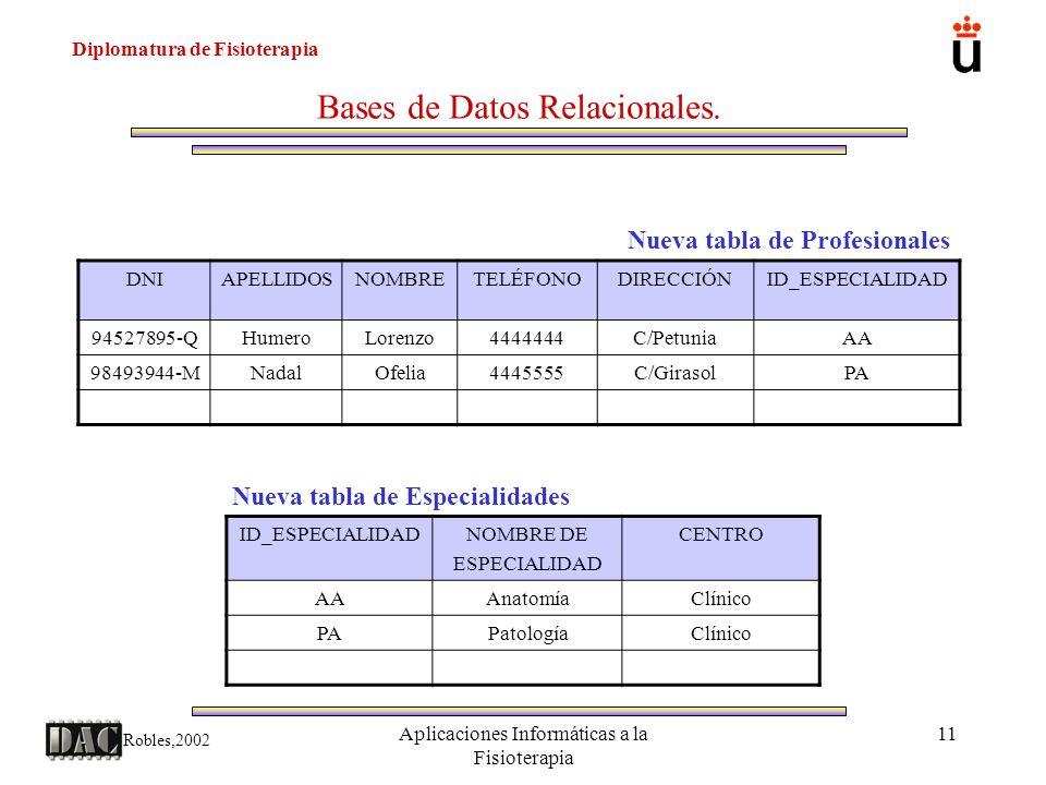 Diplomatura de Fisioterapia Robles,2002 Aplicaciones Informáticas a la Fisioterapia 11 Bases de Datos Relacionales. Nueva tabla de Profesionales Nueva