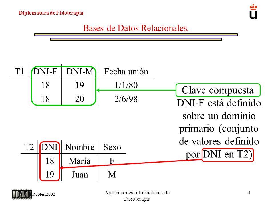 Diplomatura de Fisioterapia Robles,2002 Aplicaciones Informáticas a la Fisioterapia 4 Bases de Datos Relacionales. T2DNINombreSexo 18MaríaF 19JuanM T1