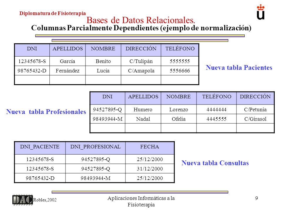 Diplomatura de Fisioterapia Robles,2002 Aplicaciones Informáticas a la Fisioterapia 9 Bases de Datos Relacionales. Columnas Parcialmente Dependientes