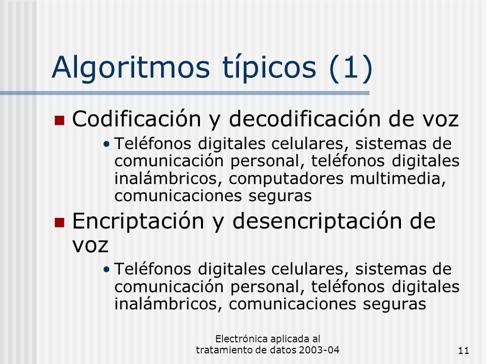 Electrónica aplicada al tratamiento de datos 2003-0411 Algoritmos típicos (1) Codificación y decodificación de voz Teléfonos digitales celulares, sist