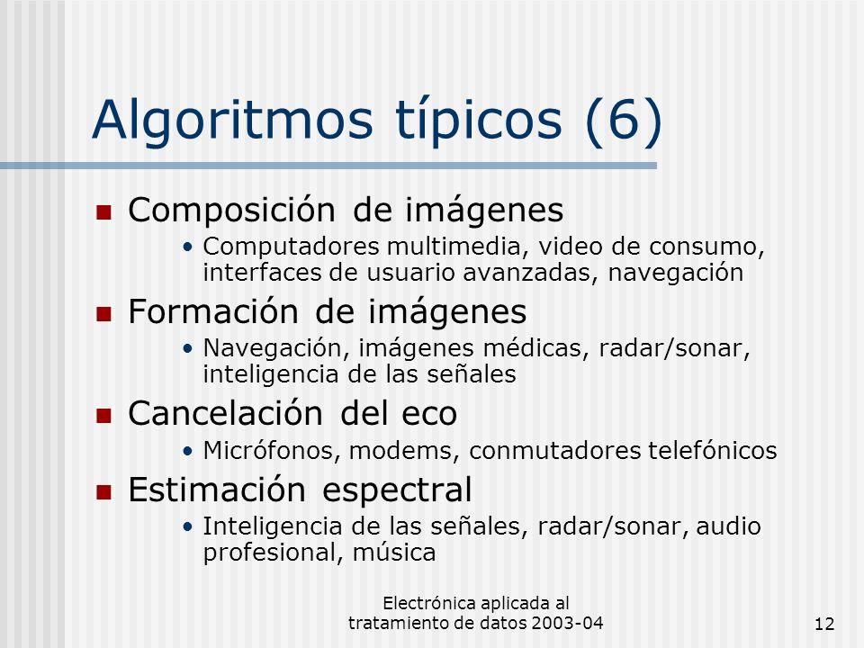 Electrónica aplicada al tratamiento de datos 2003-0412 Algoritmos típicos (6) Composición de imágenes Computadores multimedia, video de consumo, inter