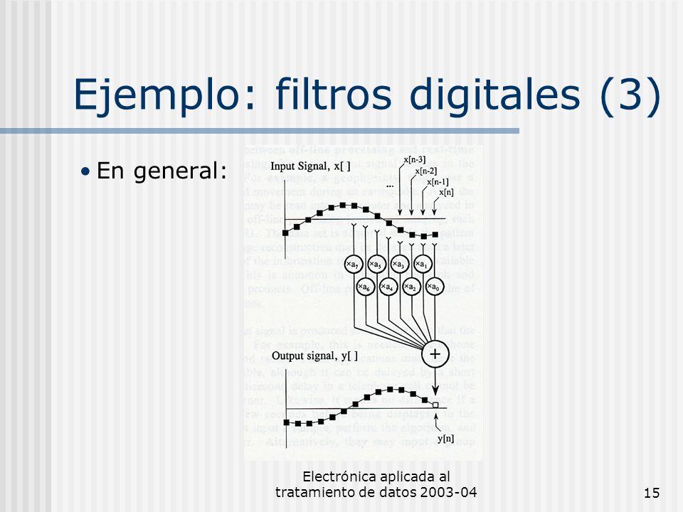 Electrónica aplicada al tratamiento de datos 2003-0415 Ejemplo: filtros digitales (3) En general: